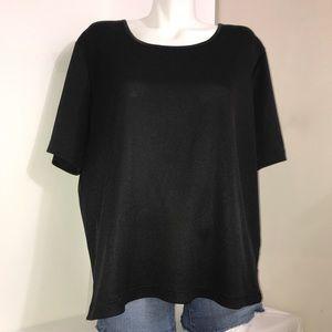 Penningtons Black Silk Ribbed Soft Short SleeveTop